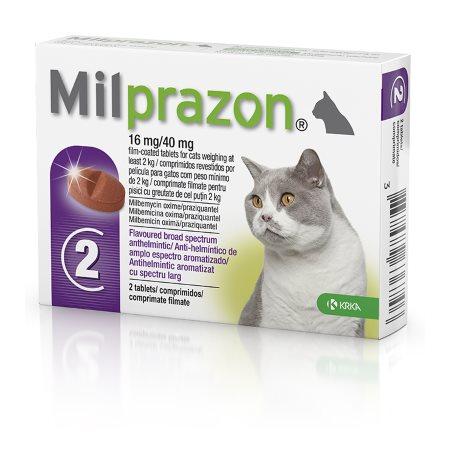 Милпразон таблетки для взрослых кошек от 2кг 2 х 16мг/40мг от внутренних паразитов