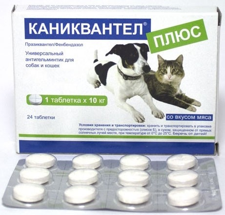 Каниквантел Плюс таблетки для собак и кошек от внутренних паразитов 1 таблетка