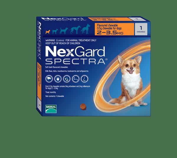 НексгарД Спектра S жевательная таблетка от клещей, гельминтов и блох для собак весом 3,5-7,5кг 1шт