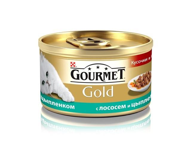 Gourmet Gold консервы для кошек всех возрастов с лососем и цыпленком 85г