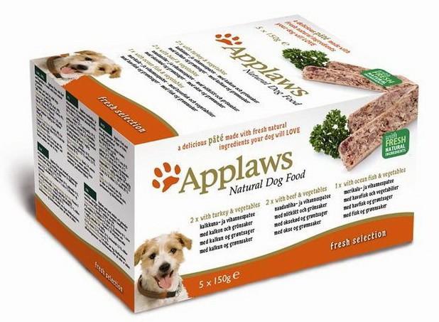Набор Applaws ламистеры для собак всех возрастов и пород с индейкой, говядиной и океанической рыбой 5шт*150гр