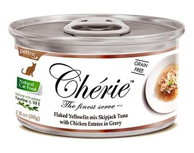 Pettric Cherie консервы для кошек всех возрастов с тунцом и курицей в подливе 80г