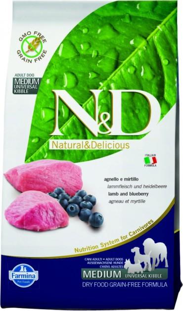Farmina N&D GF Pumpkin Adult All Breeds Lamb&Blueberry беззерновой сухой корм для взрослых собак всех пород с ягненком и черникой 2,5кг