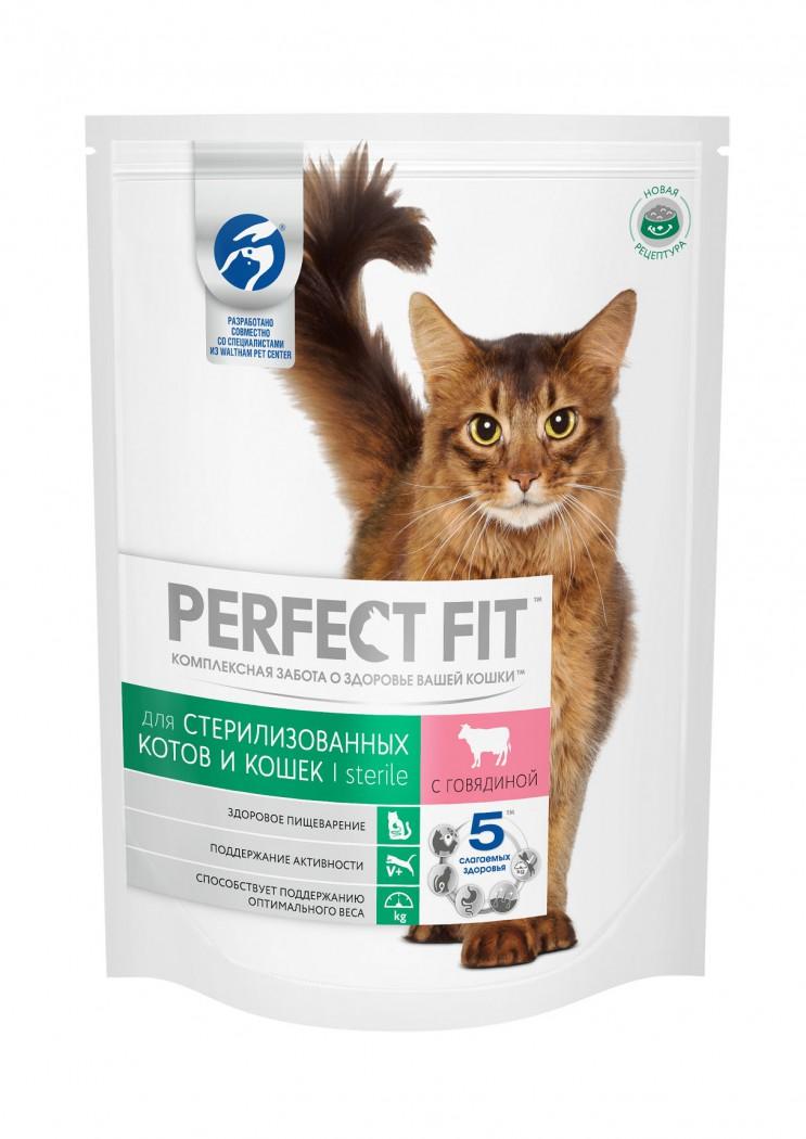 Perfect Fit сухой корм для стерилизованных кошек всех возрастов с говядиной 650гр