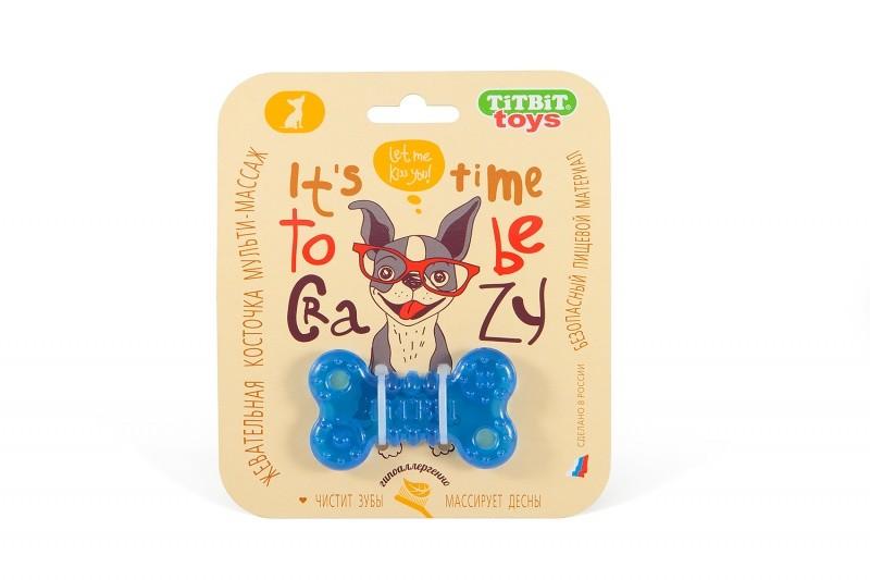 ТитБит Игрушка жевательная Косточка 7см голубой
