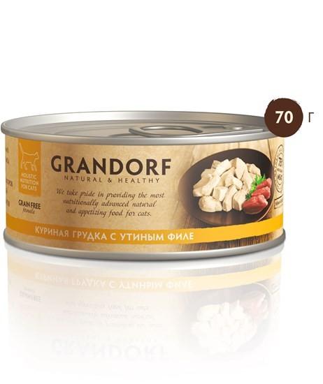 Grandorf консервы для кошек всех возрастов с куриной грудкой и уткой 70г