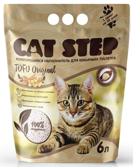 Cat Step Tofu Original наполнитель для кошек растительный комкующийся 6л