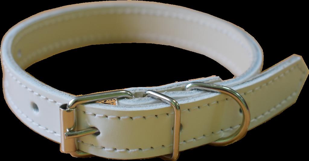 Арт.30650К012 Ошейник для собак ОС-30х650 кожаный прошитый, белый глянцевый Н.б.