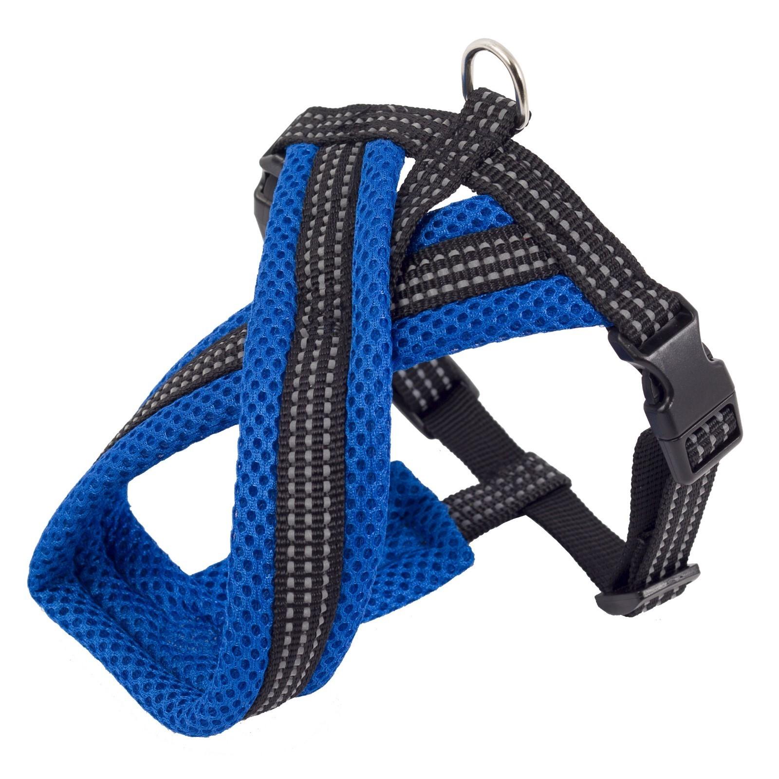 Каскад Шлейка Х-образная с мягкой подкладкой 20мм*40см*44-55см синяя нейлон