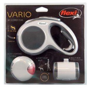 Набор Flexi Vario cord M 5м до 20кг поводок-рулетка, фонарик LED lighting system, Multi-box, цвет антрацит