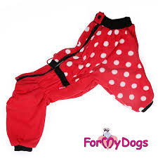 ForMyDogs А2 костюм флисовый д/мальчиков красный в горох