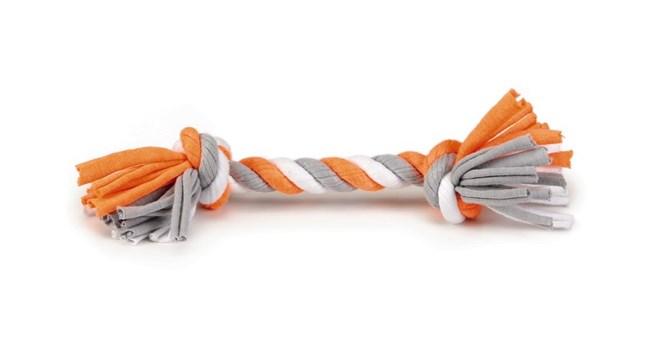 """Beeztees игрушка для собак """"Канат с 2-мя узлами"""", текстиль, серо/белый, 28 см"""
