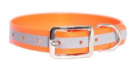 Каскад Ошейник из биотана со светоотражающей полосой 20мм*30-40см оранжевый